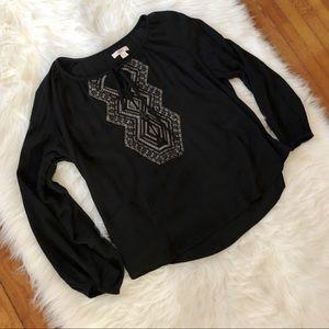 Mossimo Aztec Print Peasant Blouse Black
